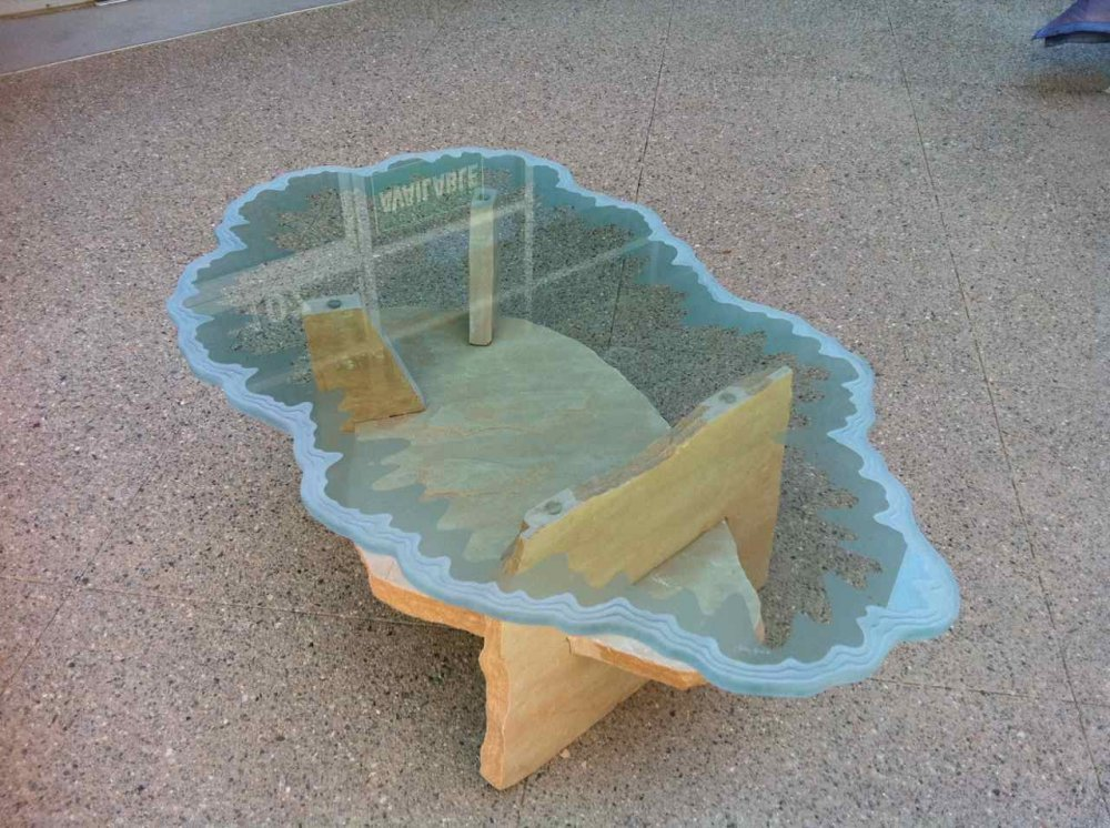 Glass Coffee Tables Carved and Etched by Sans Soucie