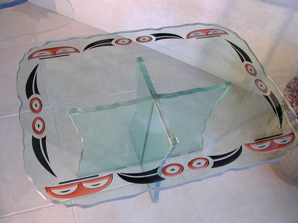 Glass Coffee Tables Native Symbols ll Sans Soucie