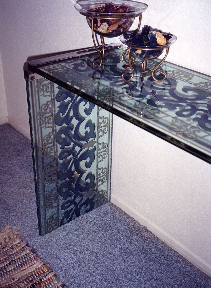 Console Tables with Carved and Painted Glass Royal Iron by Sans Soucie