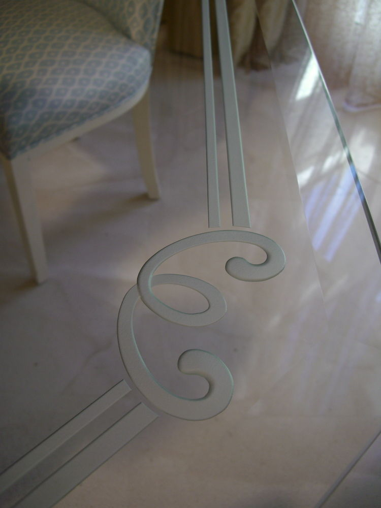 Elegant Dining Tables with Etched Glass Victorian by Sans Soucie