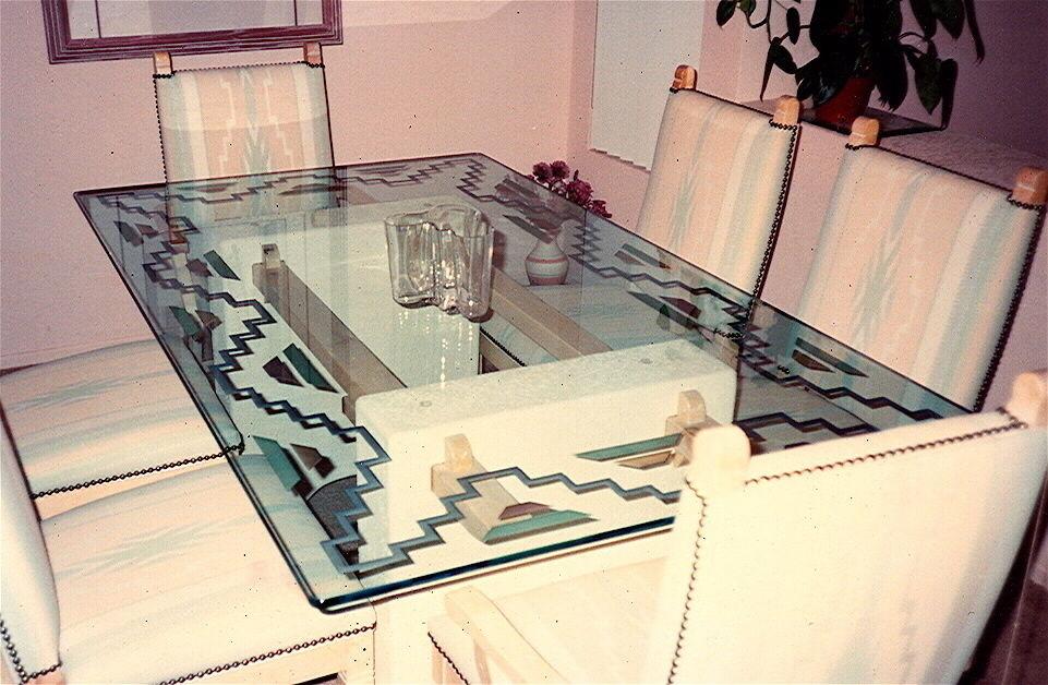 Aztec Border Glass Dining Tables Sans Soucie