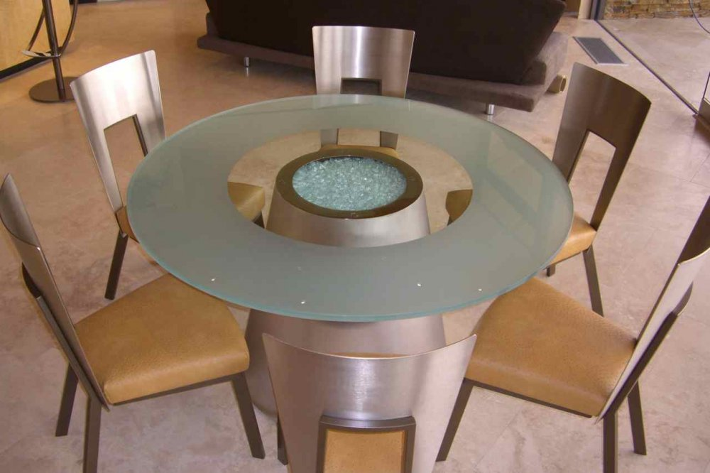 Beau Crystalline Sphere Glass Dining Tables   Glass Top Tables