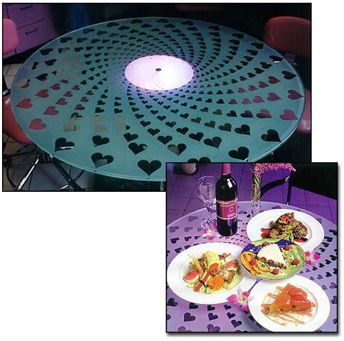 Glass Dining Tables Hearts-a-Whirl Sans Soucie