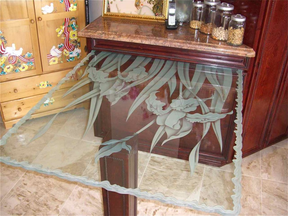 Tables with Frosted and Carved Glass French English Country iris by Sans Soucie