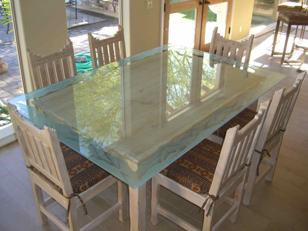 Dining Tables with Glass Carving Border mountains by Sans Soucie