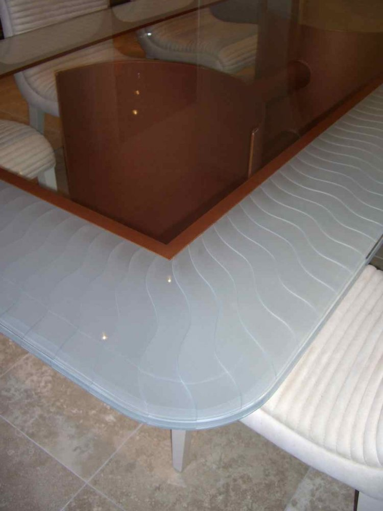 Glass Dining Table Tops Craved and Painted waves by Sans Soucie