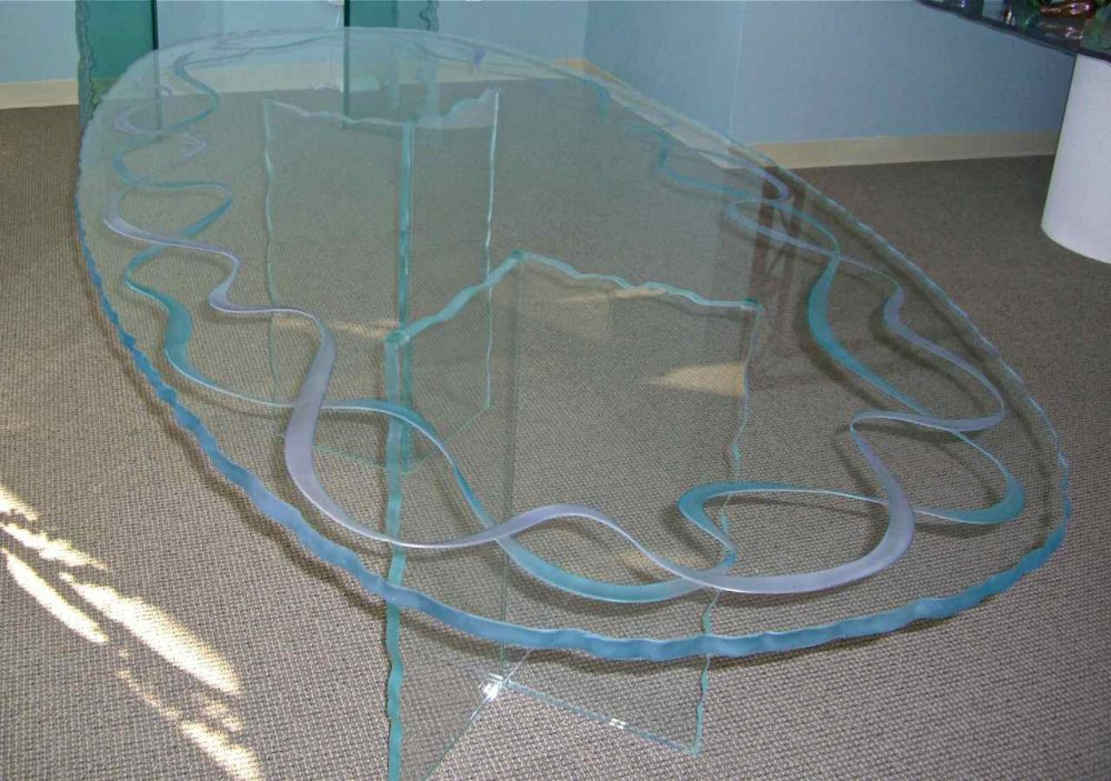 Dining Tables Craved and Painted Glass Modern Ribbons by Sans Soucie