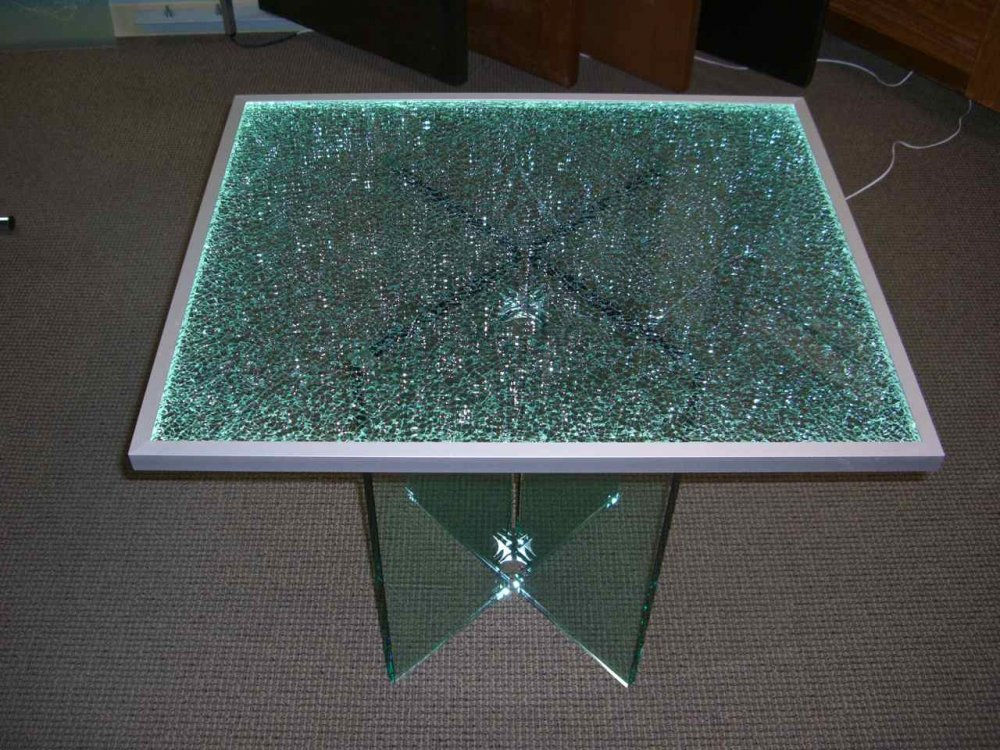 Dining Tables with Shattered Glass Lit Edge by Sans Soucie