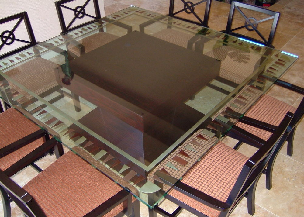 Square Glass Dining Table tri-square border ii glass dining tables sans soucie