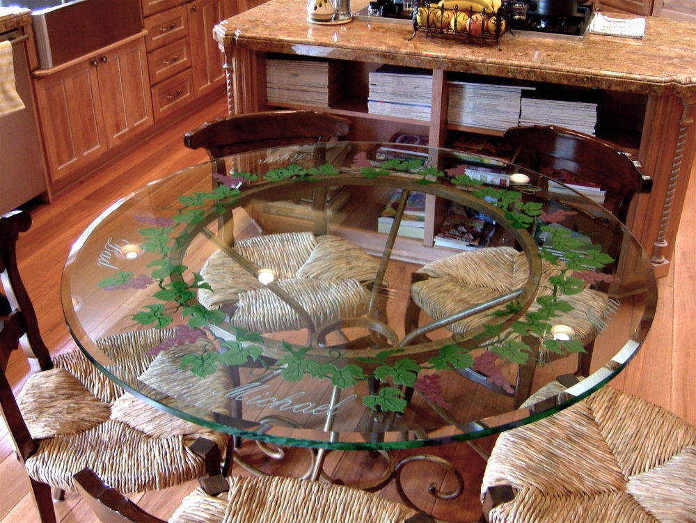 Dining Tables With Carved And Painted Glass Tuscan Mediterranean By Sans  Soucie