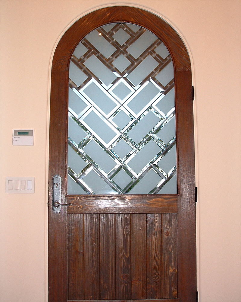 Beveled brick pattern glass door inserts sans soucie for Beveled glass doors