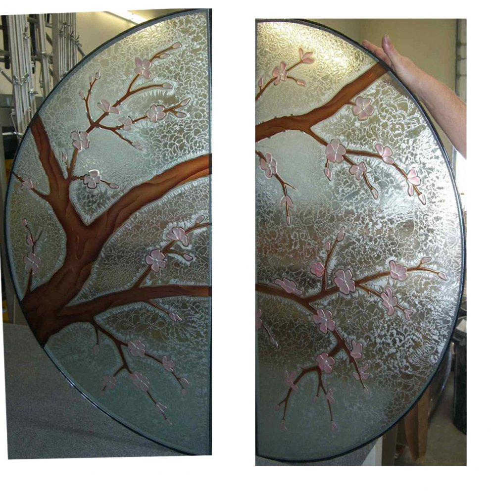 Cherry Blossom Round Glass Door Inserts Sans Soucie
