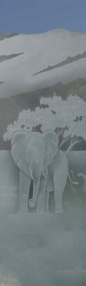 Glass Door Inserts Elephant in the Wild 3D Sans Soucie