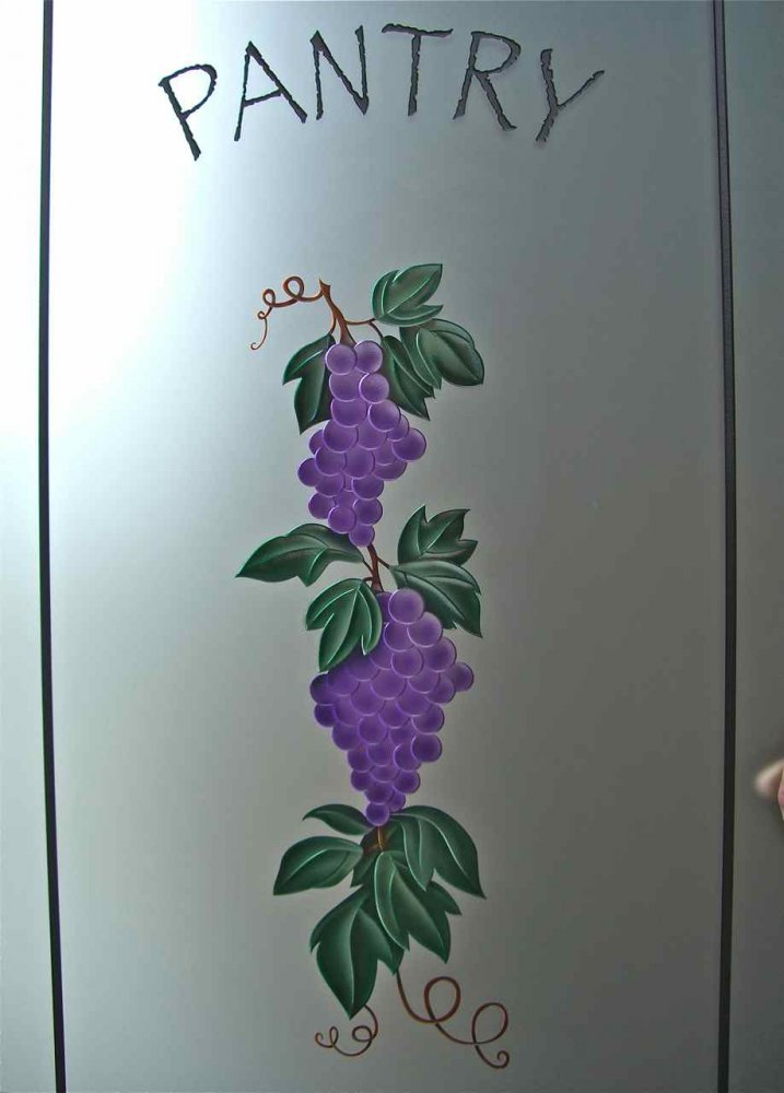Pantry Door Inserts with Carved and Painted Glass grapes by Sans Soucie