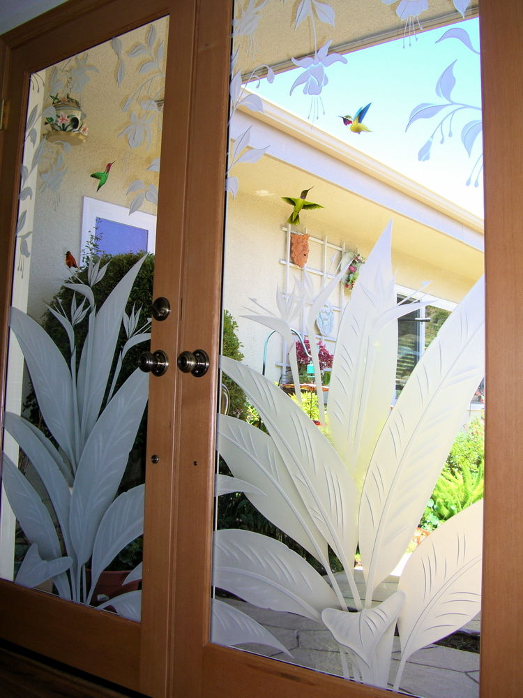 Etched Glass Door Inserts Hummingbird Lovers Sans Soucie