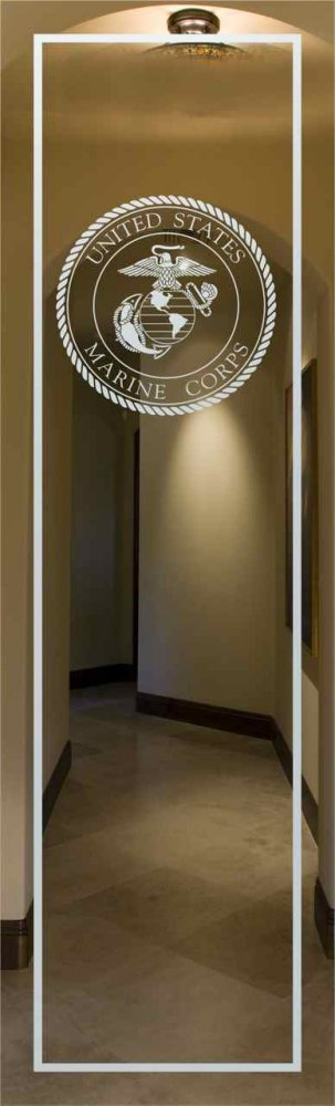 Door Inserts with Etched Glass Marine Corp Seal by Sans Soucie