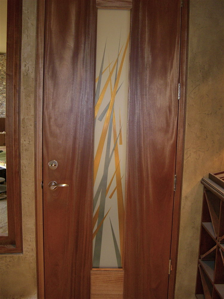 Interior Door Inserts Etched Carved and Painted Spikes by Sans Soucie