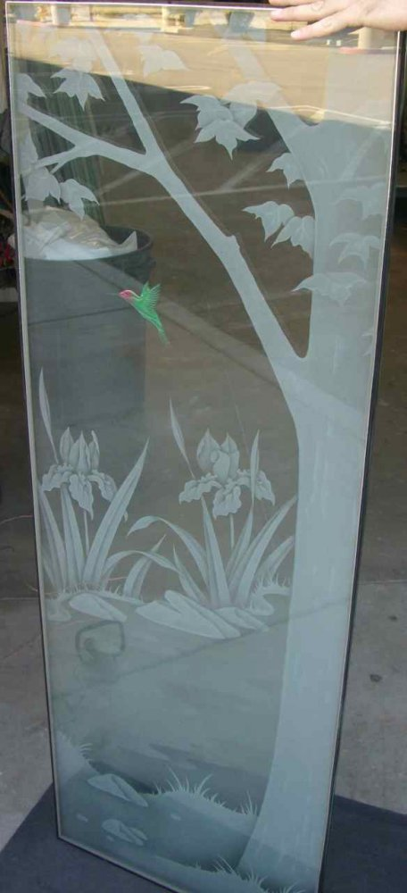 Door Inserts with Carved and Painted Glass Country Wildlife by Sans Soucie