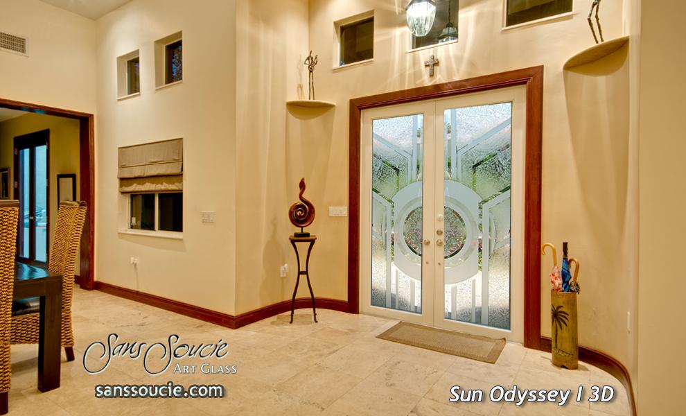 ... Exterior Doors Etched Glass Geometric Sans Soucie ... & Sun Odyssey 3D Pair Etched Glass Doors Modern Decor | Sans Soucie