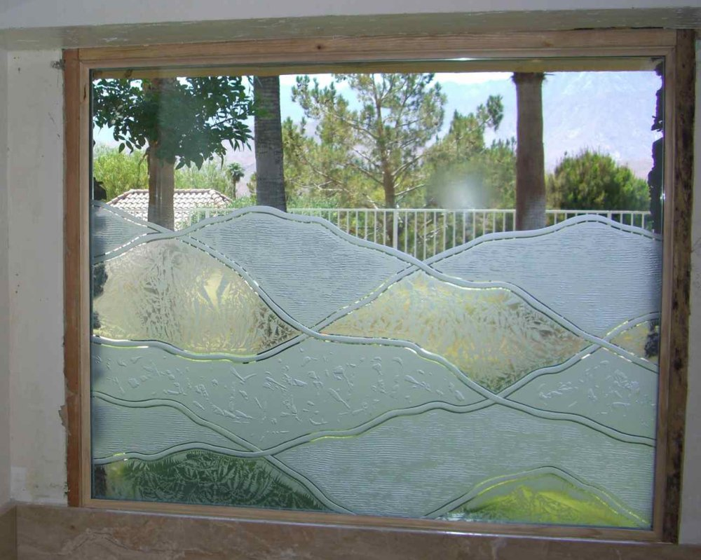 Glass Window Etched Glass Rustic Decor frosted hills abstract hills sans soucie