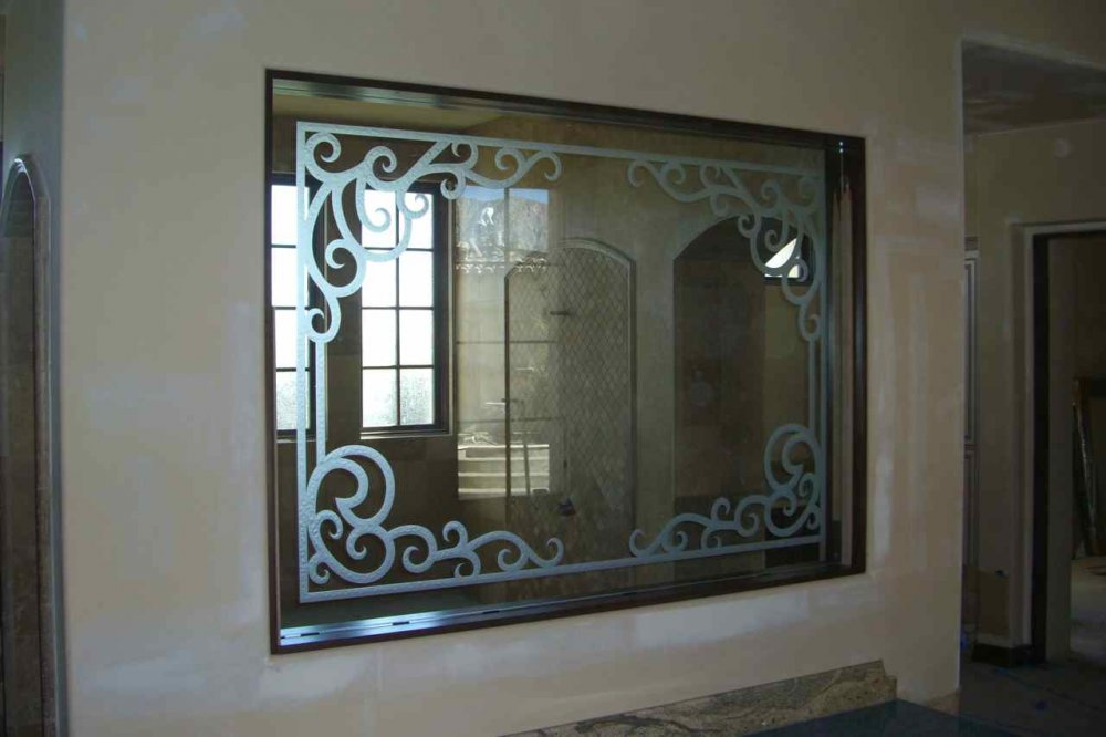 glass window etched glass Tuscan decor wrought iron bars concorde elegance sans soucie