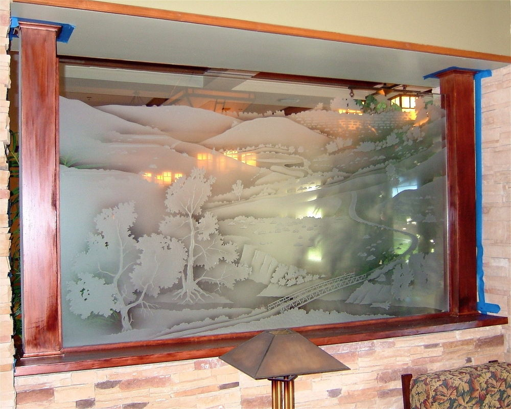 Glass Partitions Enclosed Etched Carved Landscape Scene by Sans Soucie
