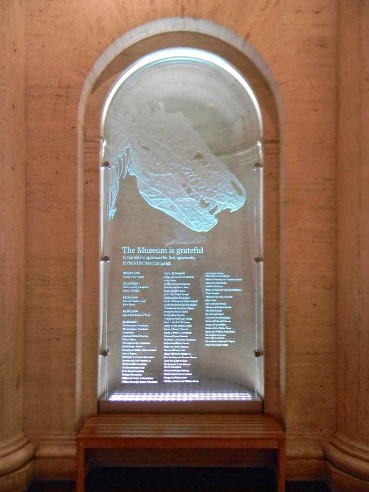 Carved Etched Glass Sculpture Doner Plaques Dinosaur by Sans Soucie