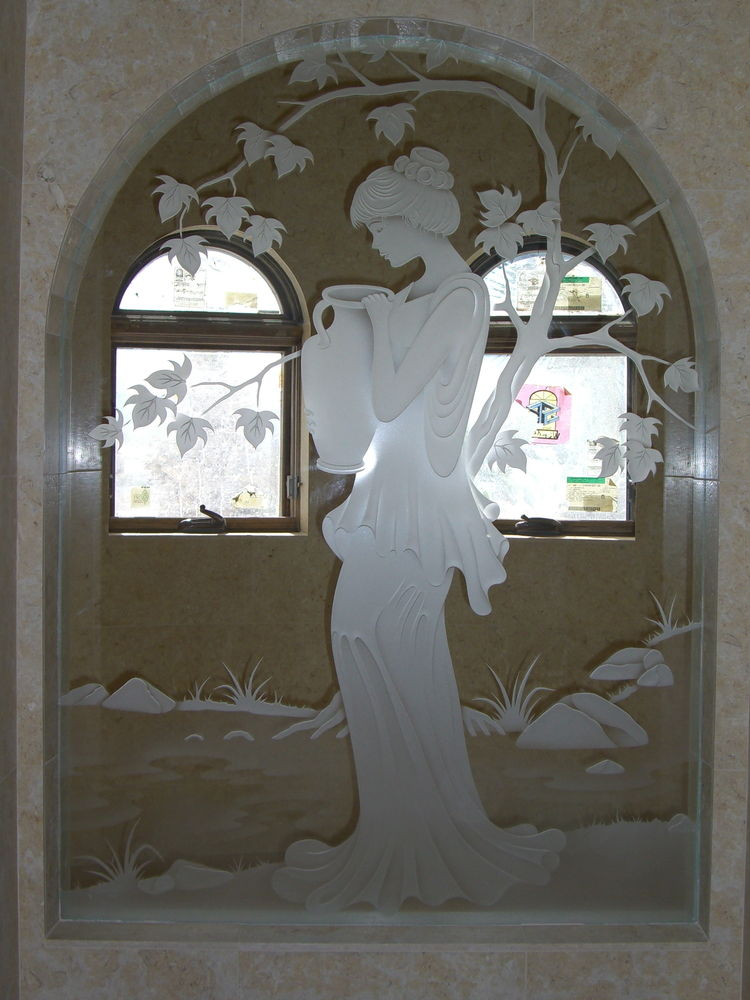 Interior Glass Partition with Glass Craving by Sans Soucie