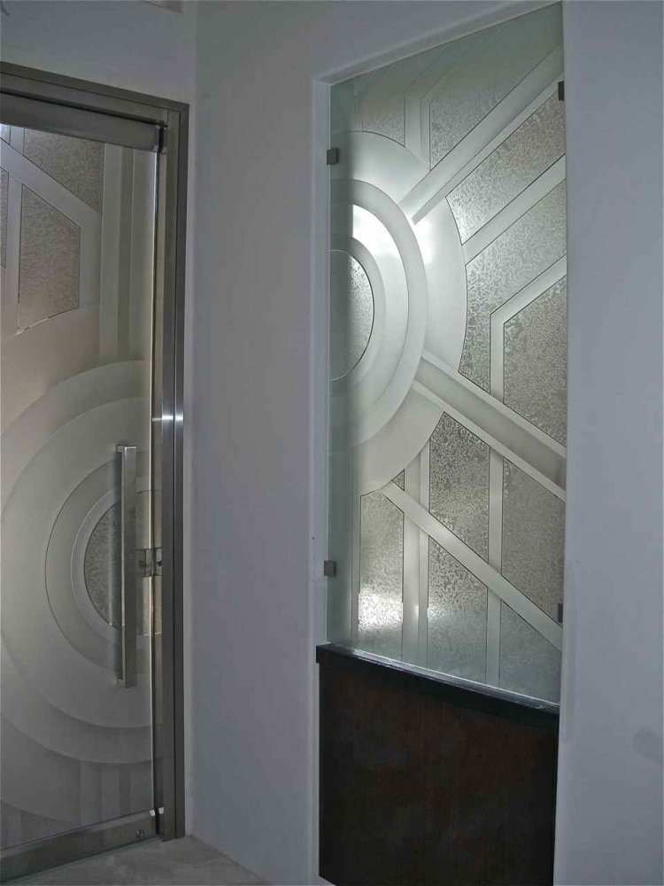 Interior Decorative Glass Partition Carved Glass Art Decor Modern Contemporary by Sans Soucie