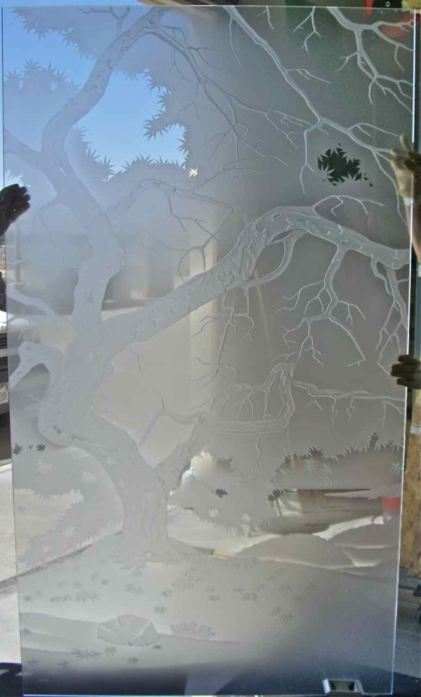 Windows with Etched and Carved Glass Rustic by Sans Soucie