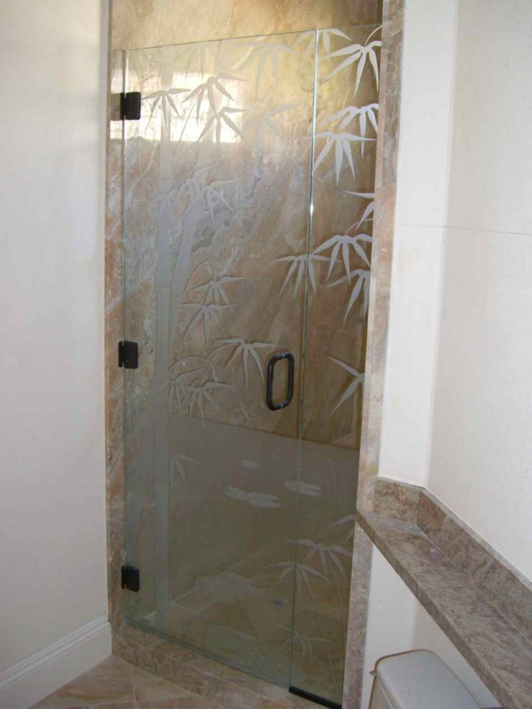 Decorative Floral Glass Shower Door Frameless Glass Shower Doors Etched Glass Asian Decor Leaves Foliage