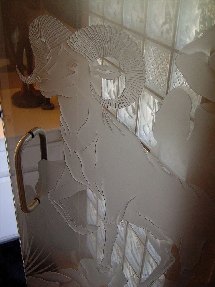 Glass Shower Doors etched glass western design wildlife mountains big horn sheep sans soucie