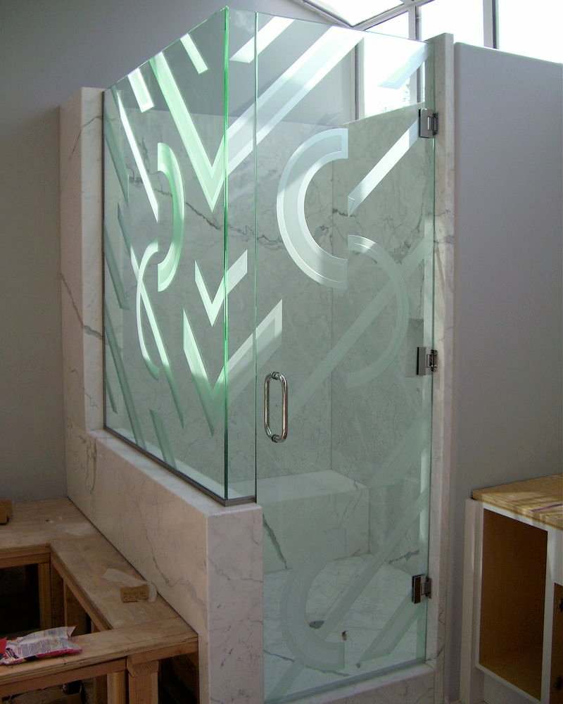 glass shower enclosures etched glass modern style geometric patterns checkpoint sans soucie