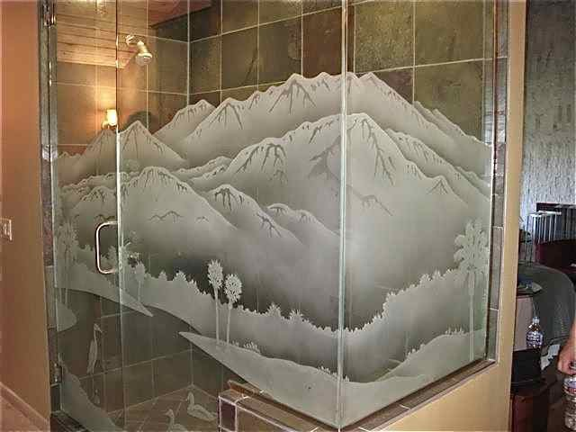 glass shower etched glass western decor mountains trees desert lakes sans soucie