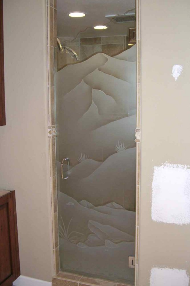 frosted shower doors. Glass Shower Doors Etched Western Design Landscapes Hills Desert Mountains Sans Soucie Frosted