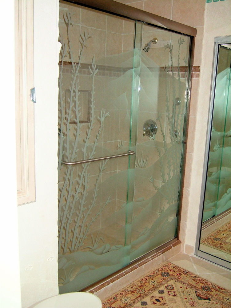 glass shower doors etched glass western decor blooming foliage ocotillo desert lll sans soucie