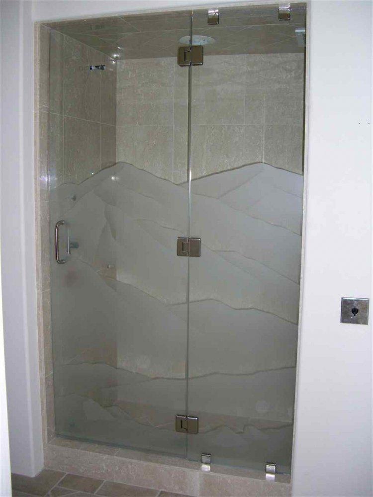 Srn Dsrt Glass Shower Doors Etched Glass Western Design