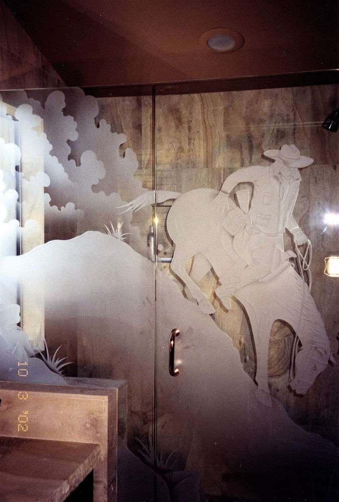 custom showers etched glass western design cowboy horse easy now sans soucie