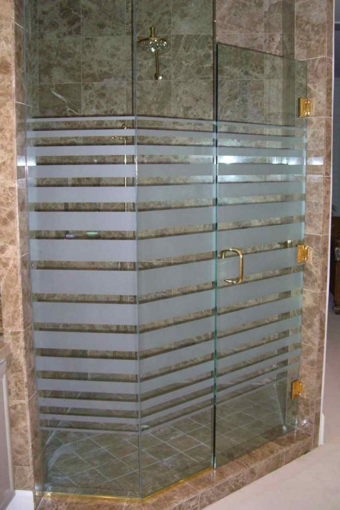Delightful Glass Shower Doors Etched Glass Modern Decor Rectangles Pattern Expanding  Bands Sans Soucie
