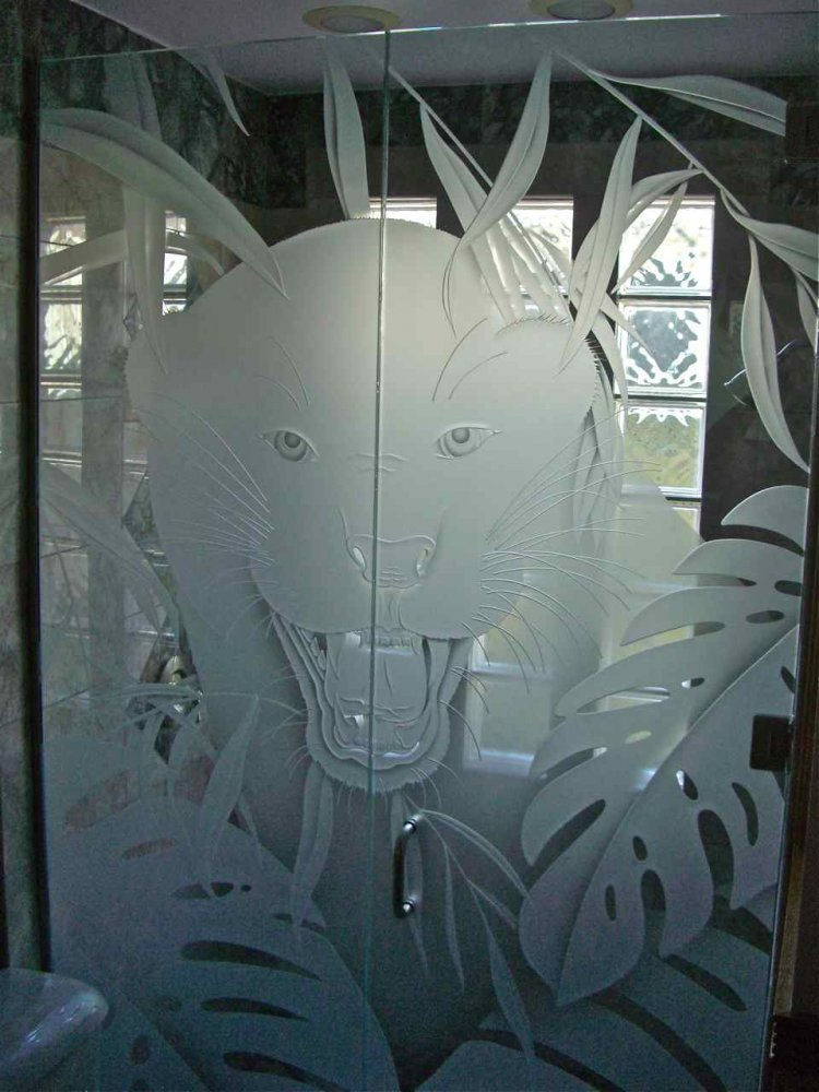 glass shower enclosures etched glass African style big cats eye of the tiger sans soucie