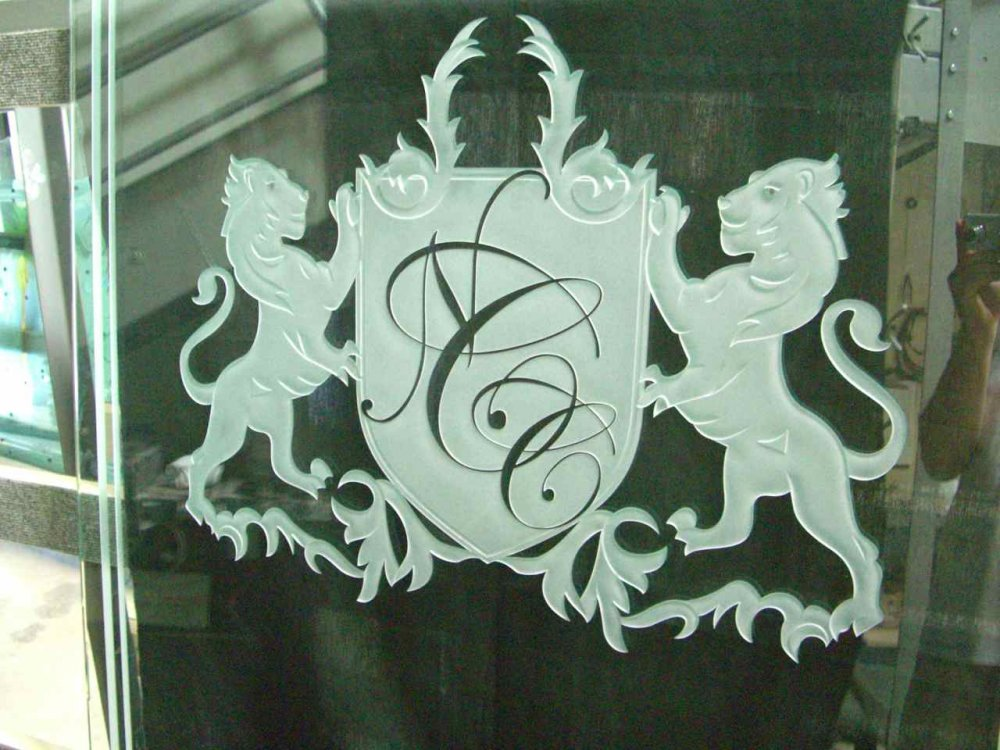 Custom Showers Etched Glass ncc family crest lions sans soucie