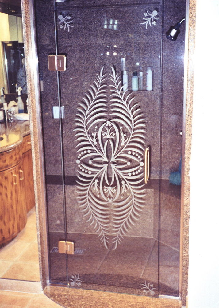 glass shower etched glass tropical design plants leaves fern pattern sans soucie