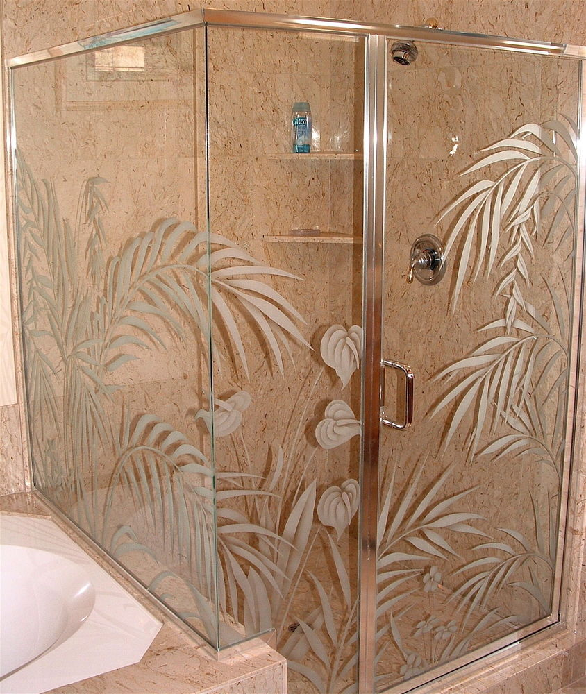 Decorative Floral Glass Shower Door Custom Showers Etched Glass Tropical Decor Plants Nature Ferns