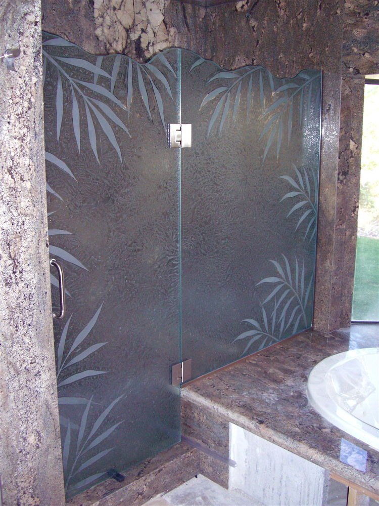 frameless glass shower doors etched glass tropical style thick foliage ferns sans soucie