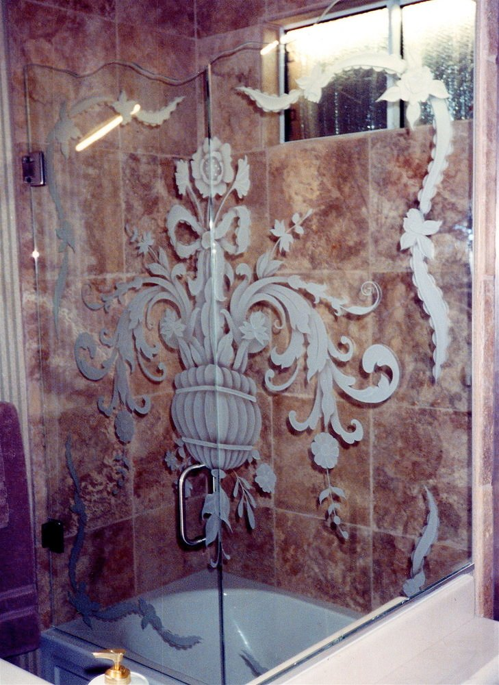 glass shower enclosures etched glass French decor ornate flourishes filigree flowers sans soucie