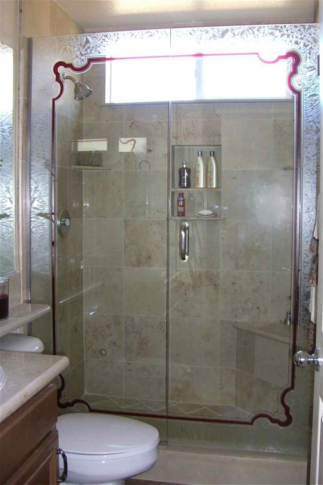 glass shower etched glass Victorian design wrought iron bar Florence border sans soucie