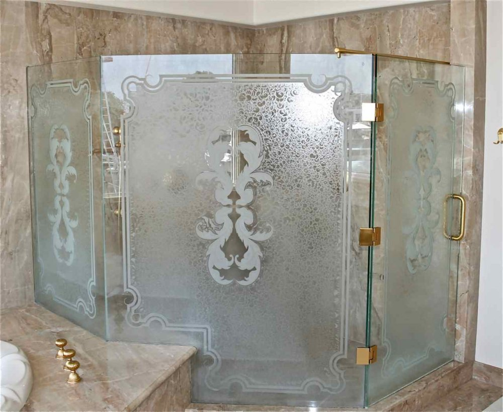 Glass shower doors etched glass french design delicate iron bars