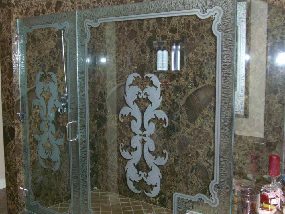 frameless glass shower doors etched glass French style ornate flourishes florence ll sans soucie