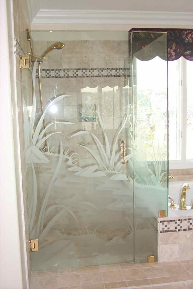 glass shower doors etched glass rustic decor plants water flowing stream sans soucie