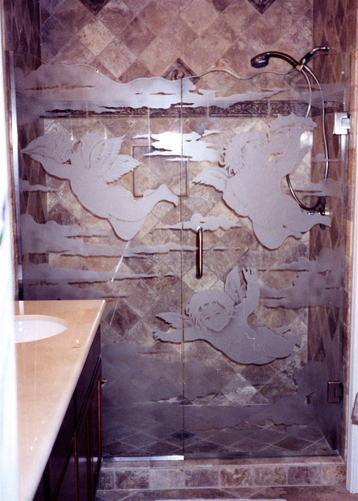 glass shower doors etched glass theme decor love hearts flying cupids sans soucie